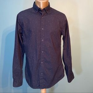 Only & sons men's navy blue button up shirt